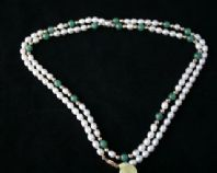 82cm Long White Pearl Necklace & Aventurine and 9ct Gold Beads